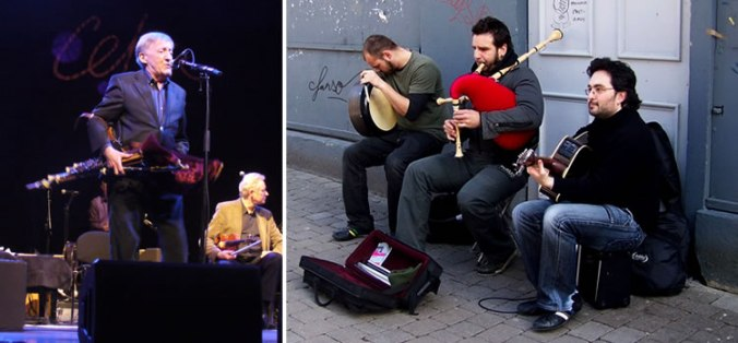 Paddy Moloney of The Chieftans playing the the Uilleann pipes, photo by Candy Schwartz and buskers on Quay Street, Galway City playing a Bodhran, the Uilleann or Irish pipes and a guitar, photo by Trish Steel.