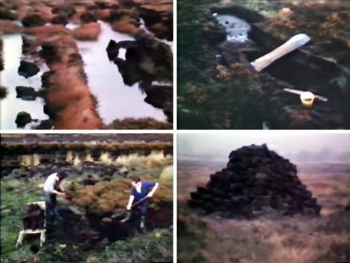 Hand Cutting Peat Peat bog hat has been cut, trench where peat is being cut, two men hand cutting peat, peat stacked drying Photos from Revolution on the Boglands by Michael Herbst, Herbst Difco