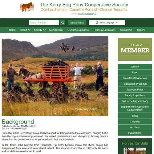 The Kerry Bog Pony Cooperative Society website