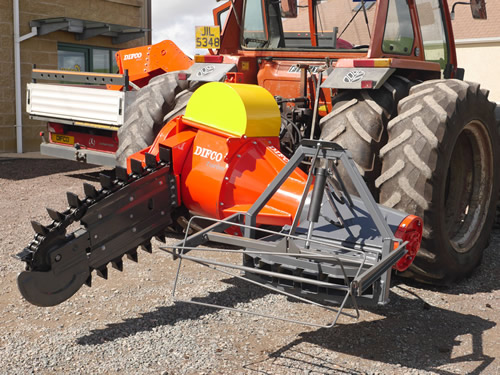 Turbo Chain Cutter - Difco Peat Equipment Tractor mounted sod peat cutter - Blades are available up to 6 1/2' long.