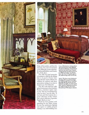 The Queen's Bedroom, with Biedermeier writing desk and Victorian brass beds. Lower Tower Bedroom with Pugin dressing table and wall paper pattern in Lismore Castle