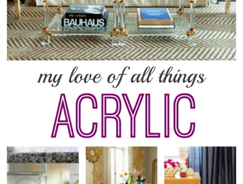Beautiful, sexy and the epitome of good design. Sharing my love of all things Acrylic. Whether it's furniture or simply an accent, acrylic works in all types of spaces.