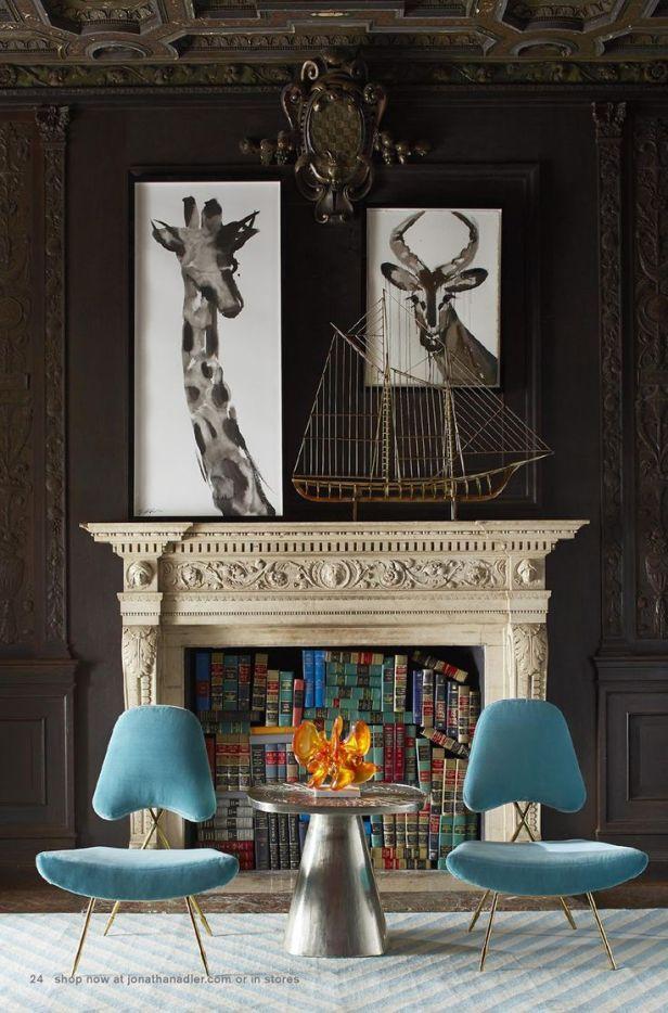 Jonathan Adler Glam it Up Fireplace - Soulful Inspiration from Velvet Finishes