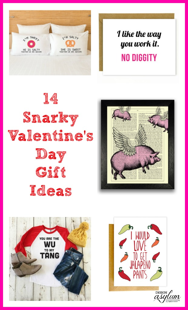 Tired of chocolates, flowers, and candy? Here's 14 Snarky Valentine's Day Gift Ideas! If you're looking for a few snarky gifts that still checks the box of getting a Valentine's gift and showing that you care, browse these 14 cards and gifts that I've rounded up. #giftsforhim #funnyvalentinesgifts