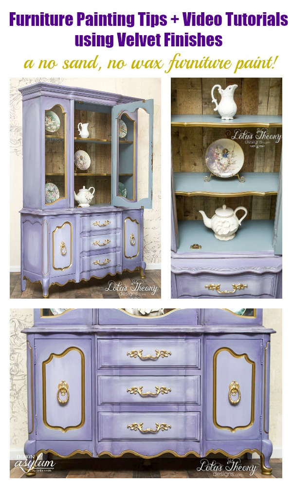 See this amazing purple hutch tutorial using Velvet Finishes from Lotus Theory Designs. Velvet Finishes furniture flip makeovers and tips, with video!