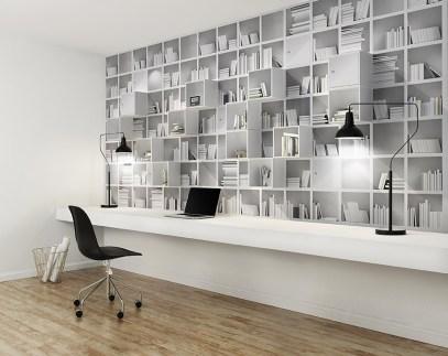 Elegant minimal white home office