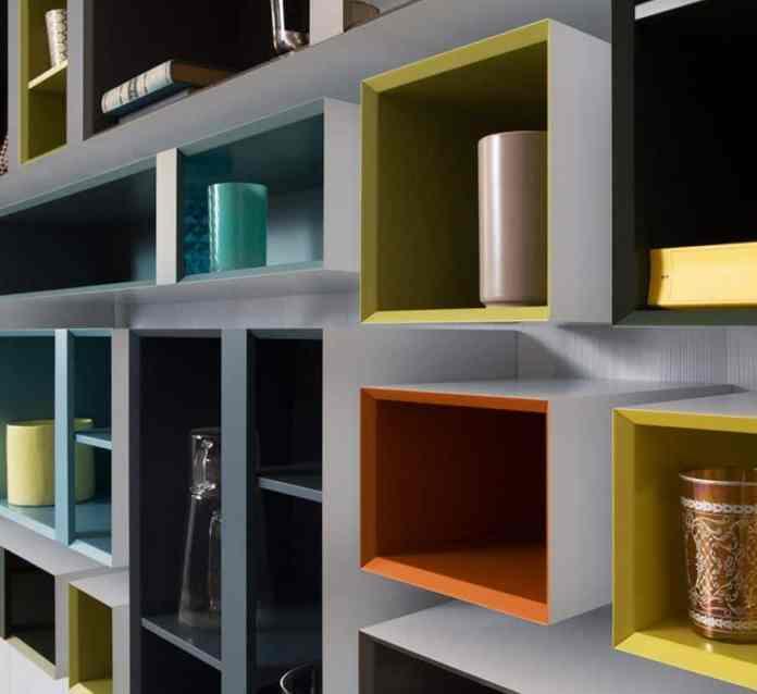 multibox libreria da parete con elementi pensili