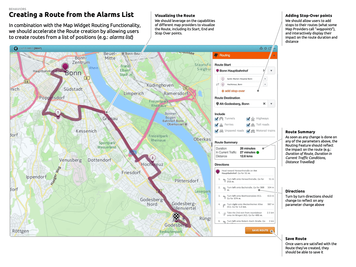 Creating a Route from the Alarms List: ADDING STOP OVERS