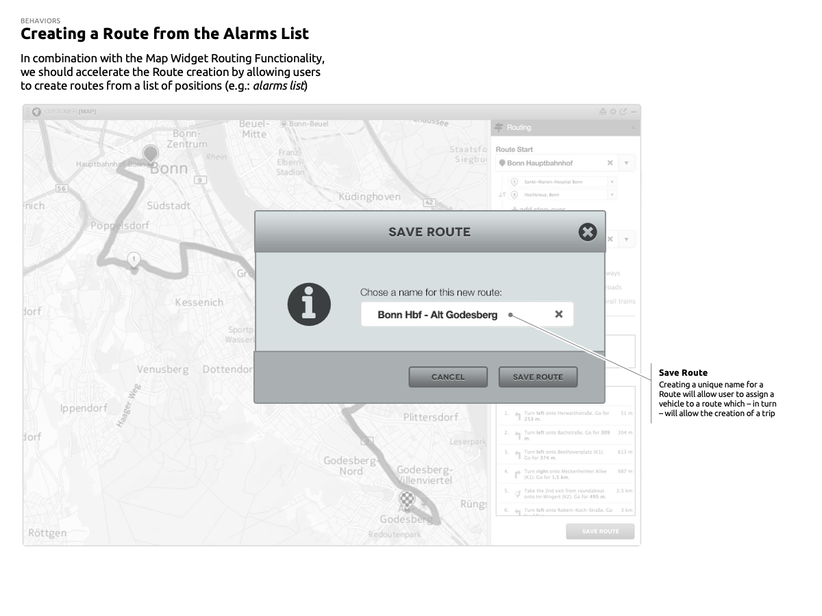 Creating a Route from the Alarms List: SAVE ROUTE