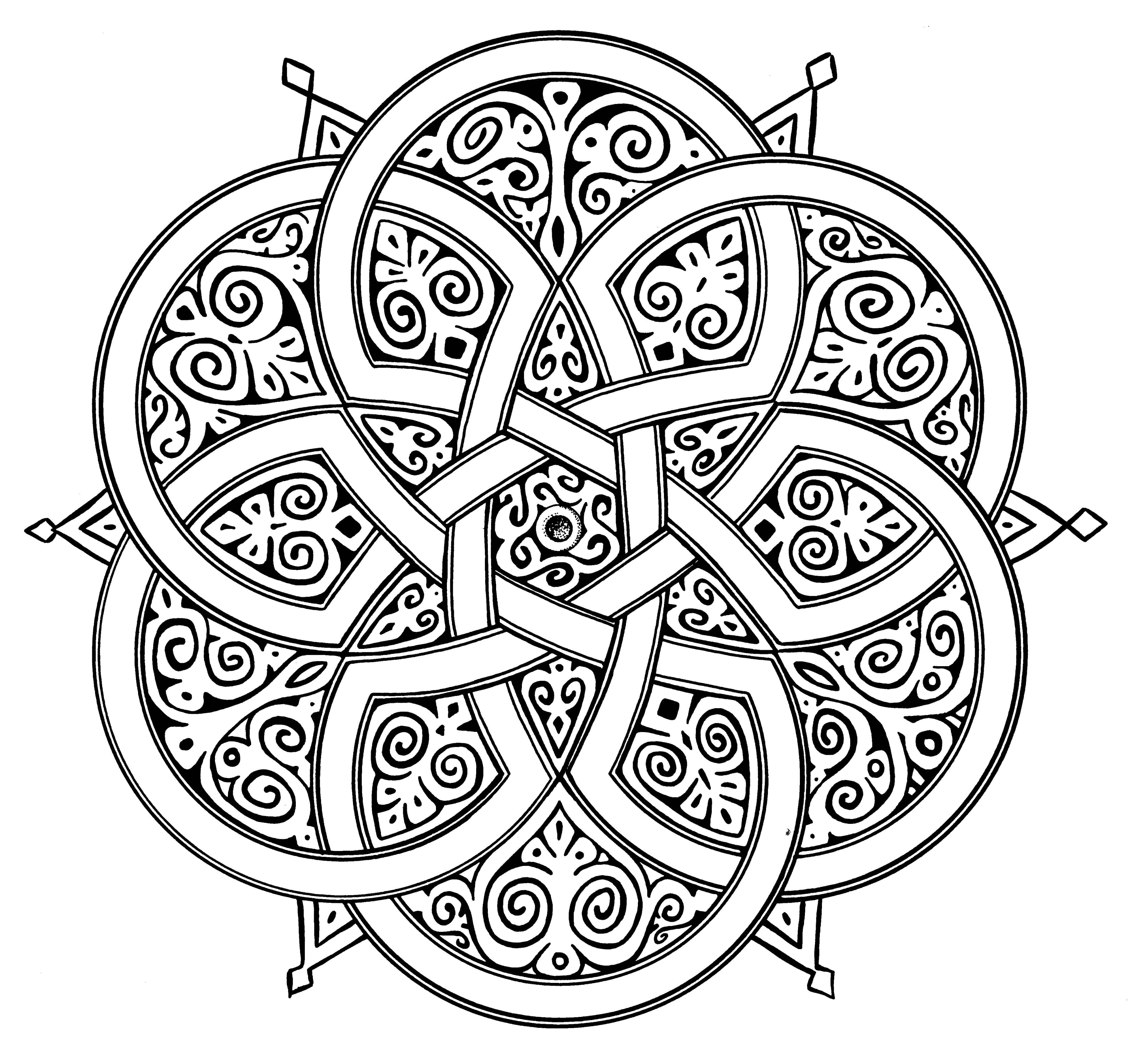 Islamic Art Geometric Designs Sketch Coloring Page