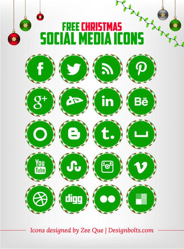 Free Christmas Social Media Icons Set Designbolts