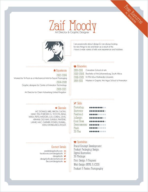 free resume template for graphic designers illustrator ai amp eps file