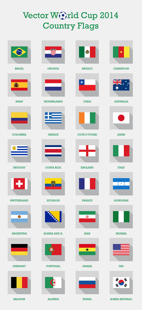 Brazil Fifa world cup 2014 country flags Free Vector Fifa World Cup 2014 Teams Country Flags | PNG Icons, EPS & Ai