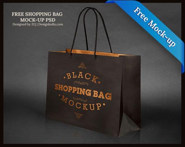 Download Free Black Shopping Bag Mock-up PSD File - Designbolts