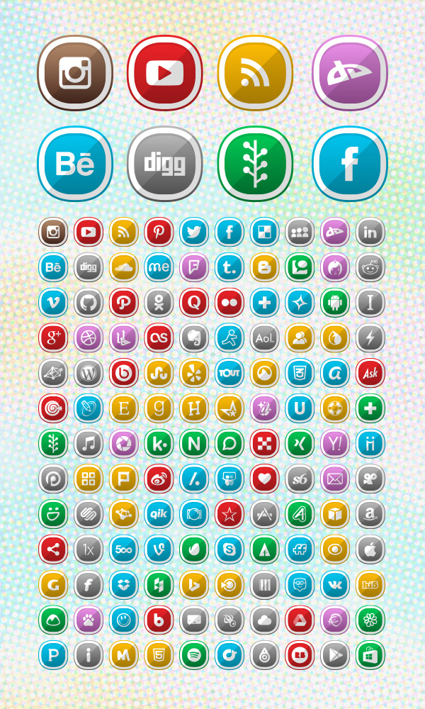 130 Free Cute Shaded Social Media Icons for 2015 Blogs ...