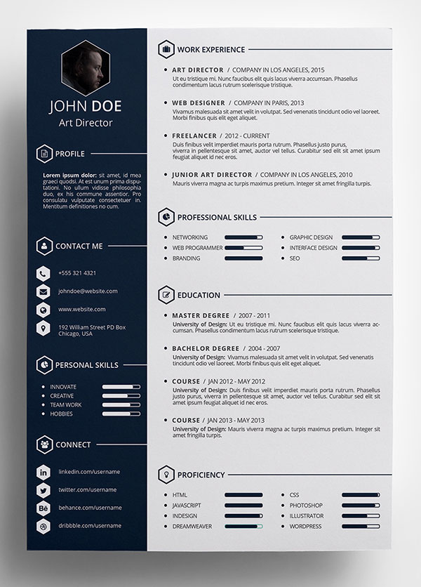 10 Best Free Resume  CV  Templates in Ai  Indesign  Word   PSD Formats Free Creative Resume Template in PSD Format