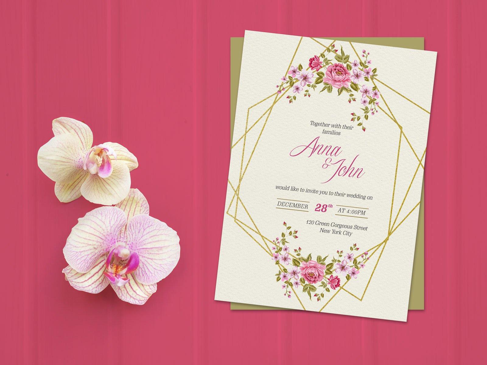Free Wedding Invitation Card Template Mockup Psd Designbolts
