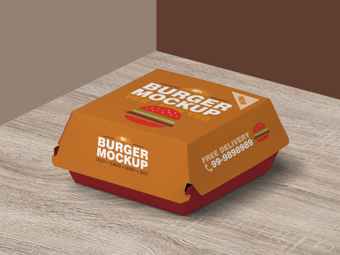 Download Free Burger Packaging Mockup PSD | Designbolts
