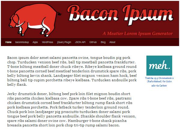 bacon-ipsum 20 Plain & Hysterical Lorem Ipsum Generators