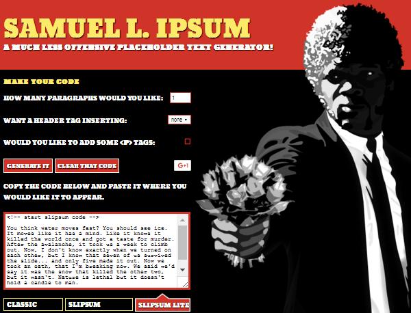 samuel-l-ipsum 20 Plain & Hysterical Lorem Ipsum Generators