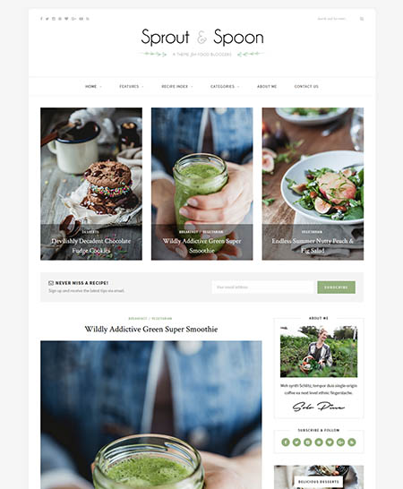 sprout-spoon-wordpress-theme 13 Best Food Themes for Sharing Recipes