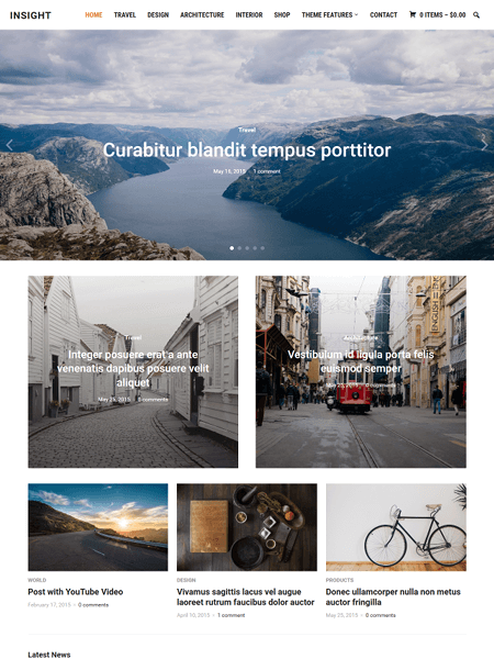 insight 20 Adventurous WordPress Travel Blog Themes for 2017