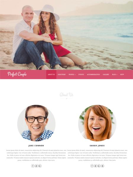 perfectcouple 20 Stunning WordPress Wedding Themes for 2017