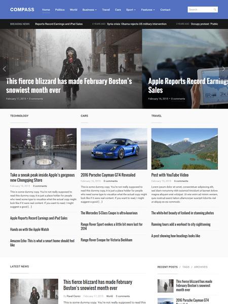 compass 30 Newsworthy Magazine WordPress Themes for Blogs & Magazines