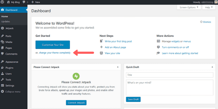 dashboard1 How to Start a WordPress Blog – The Definitive Guide