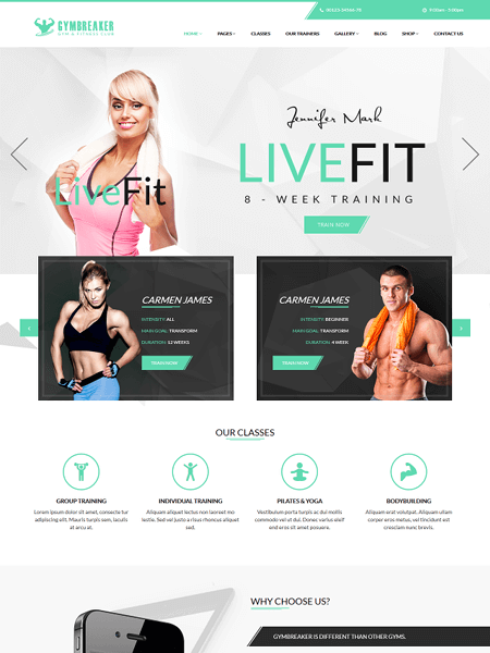 gymbreaker 22 of the best Yoga & Fitness WordPress Themes for 2017
