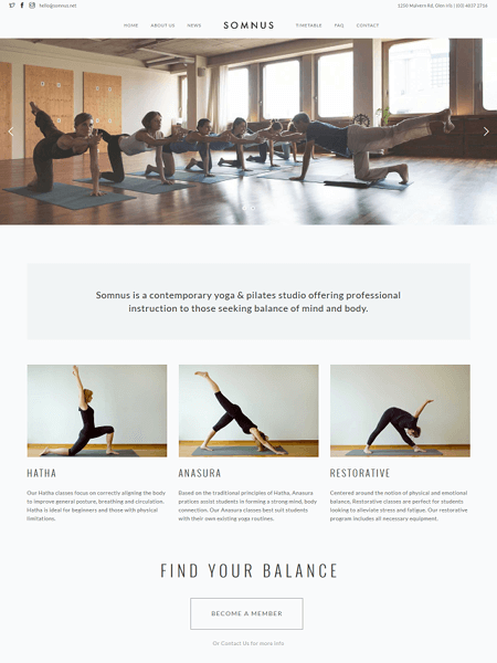 somnus 22 of the best Yoga & Fitness WordPress Themes for 2017