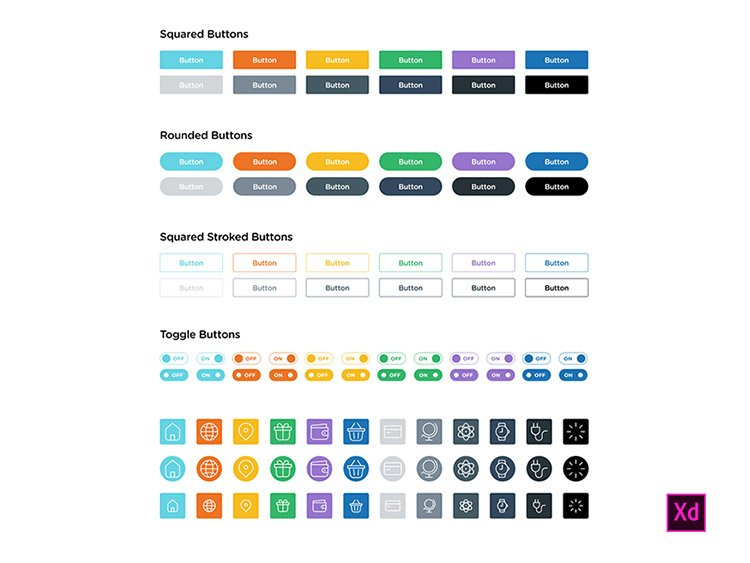 13-adobexd-buttons 22 Incredible Adobe XD Freebies For UI Designers