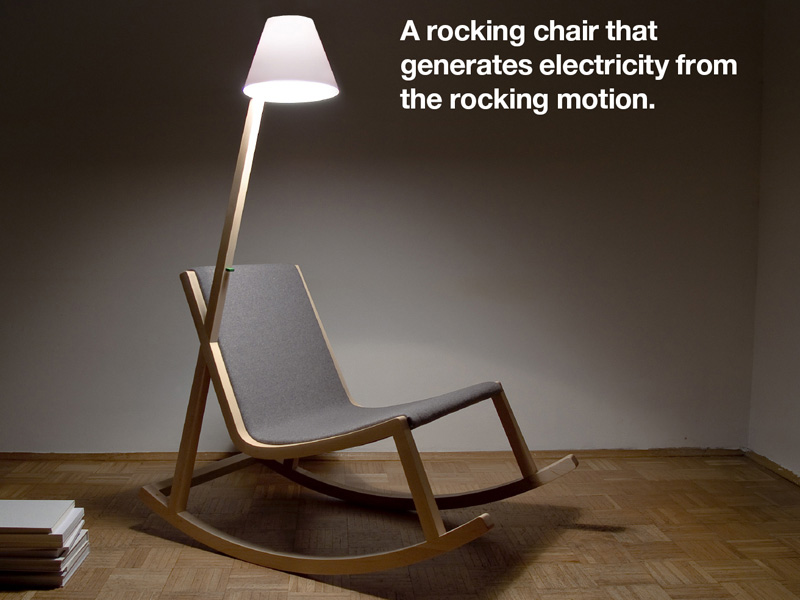 Rocking chair generates energy for integrated reading lamp