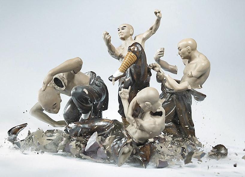 Martin Klimas' photographic piece of shattering ceramic samurai