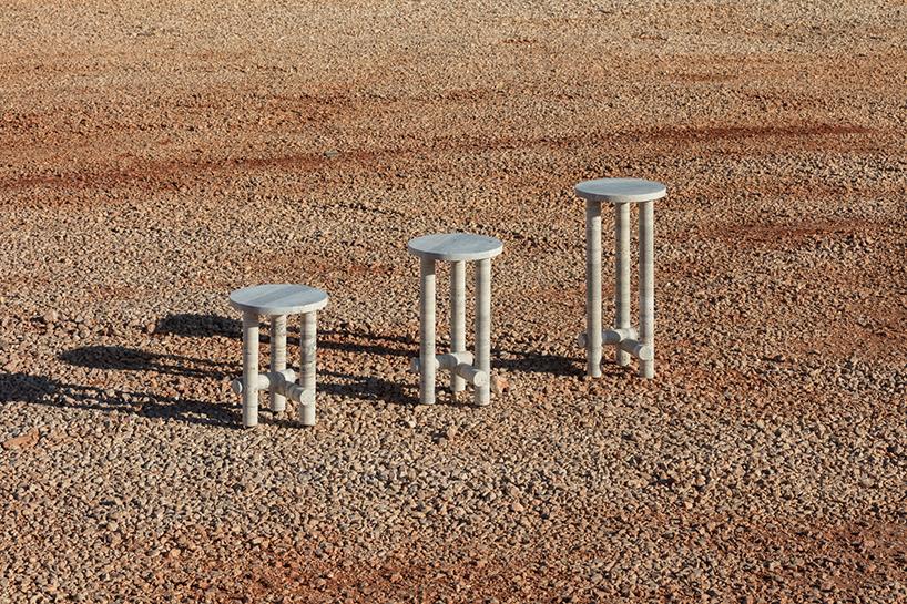 clément brazille ocean travertine stone ateliers romeo furniture designboom