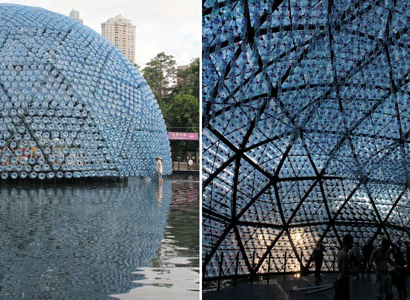Rising Moon Lantern Pavilion Made From Recycled Water Bottles