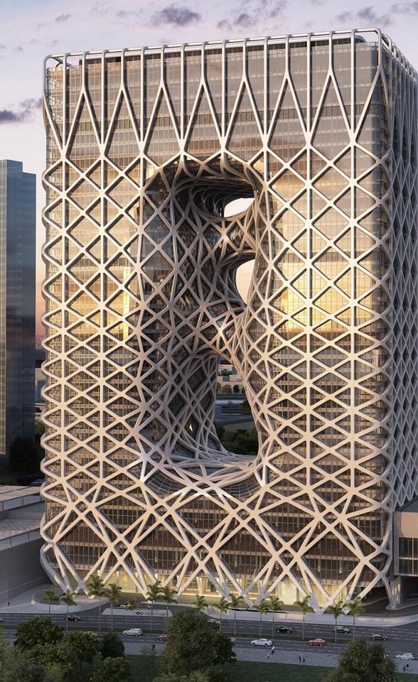 zaha hadid in macau: city of dreams hotel tower under construction