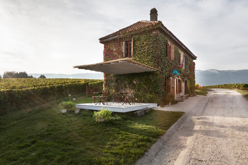 bureau A entertains wine drinkers at la cabuche in swiss vineyards