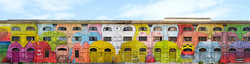 blu wraps roman military warehouse with mural of 50 faces