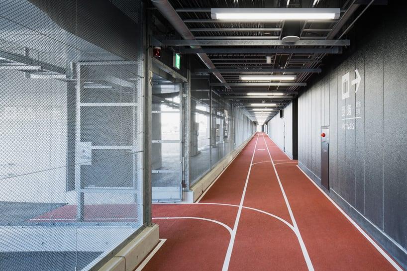 narita airport terminal 3 running track party muji nikken designboom