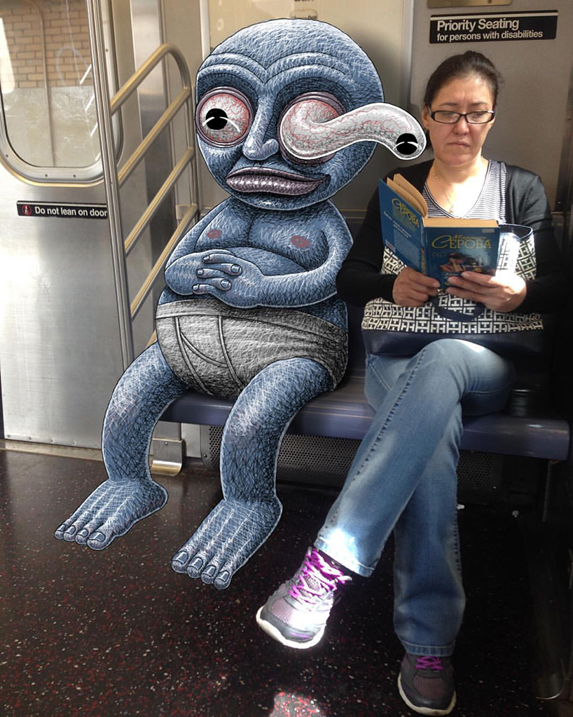 monsters-of-the-new-york-city-subway-doodle-unsuspecting-subway-riders-designboom-02