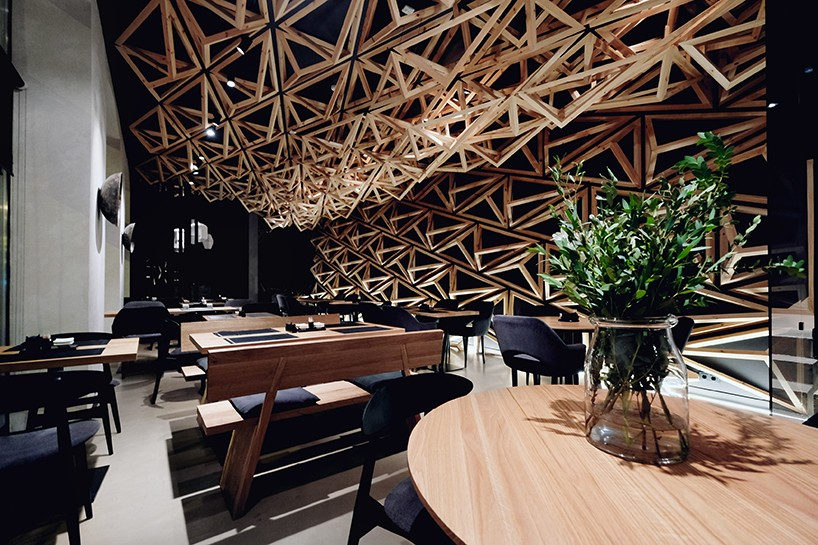400 Wooden Triangles Envelope Sushi Bar By DA Architects