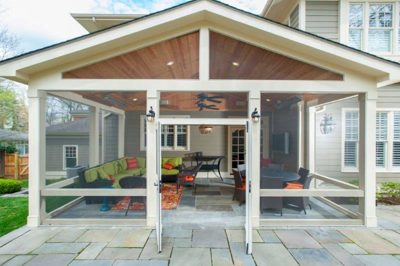 flagstone patio into a screened in porch