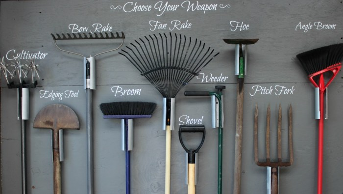 You can build this garden tool storage wall for your tool shed