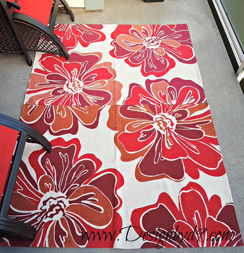 Deck refresh|$100 Room Challenge|#100roomchallenge|walmart rugs|red rugs|bright rugs