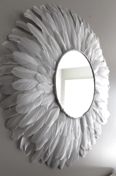 How to make a perfectly round feather mirror using goose feathers. This is how I made my mirror as perfectly circular as possible. Feather wall decor