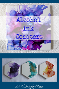 DIY alcohol ink tile coasters. A fun and easy project. Make these for a gift as art as coasters, or just for fun. #alcoholinkcoasters