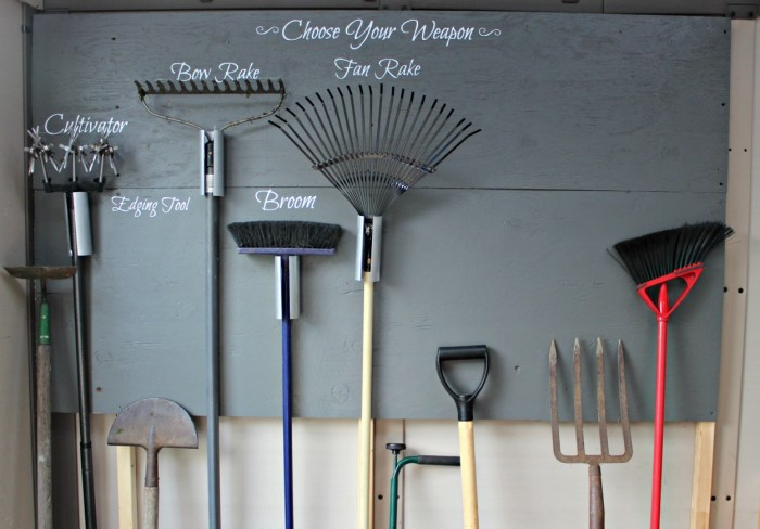 Create this garden tool storage wall using plywood. PVC and your Cricut cutting machine for personalized lettering.Choose your weapon and get to work in the garden. This project was completed in a weekend. Dry-fitting the garden tool storage wall