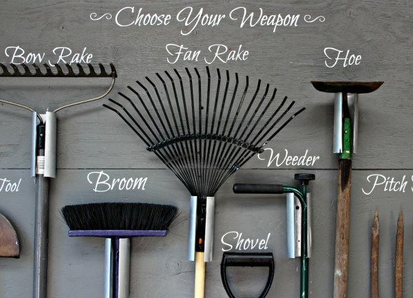 These are my new home updates, at the 6 month mark. This is my garden tool storage wall