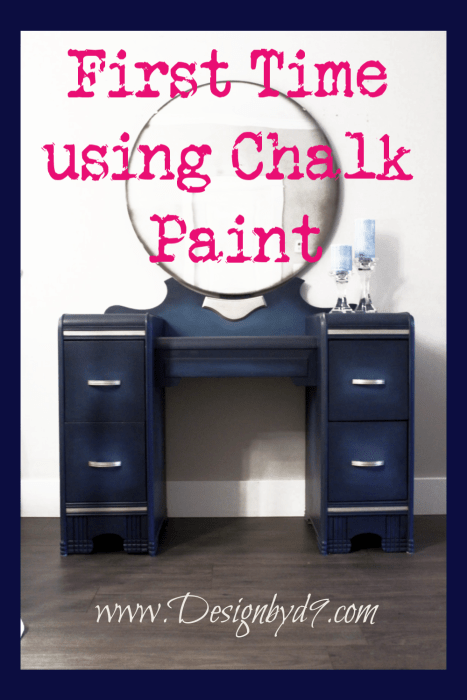 Would you like to see my first time using chalk paint on furniture? I made over a vintage waterfall vanity using fat paint chalk paint